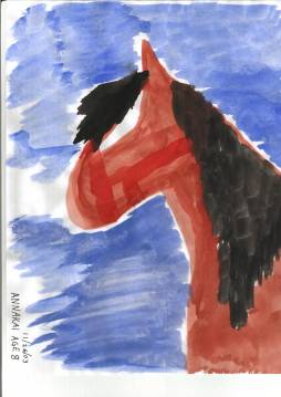 Submitted by Annakai Geshlider, Age 8. Bay Horse